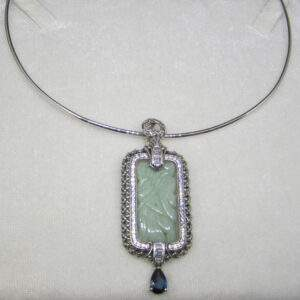 Sterling silver necklace and natural jade pendant with London Blue topaz