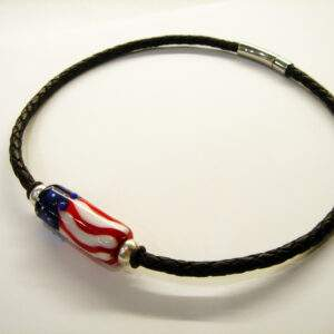 Necklace, American Flag Bead On 5mm Brown Bolo Cord (Copy)