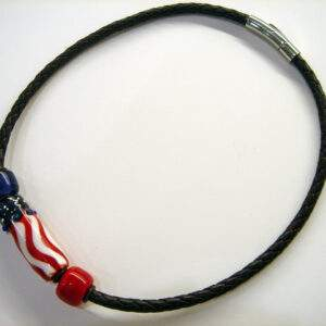 Necklace, American Flag Bead Set On Bolo Cord