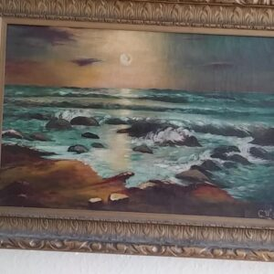 Seascape Oil Painting signed C.W.
